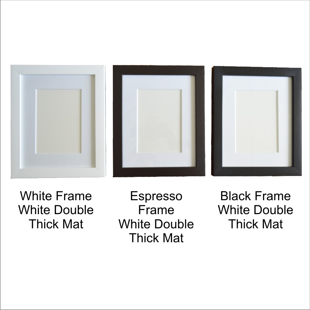 Photo Frames White Black or Espresso with Double thick mat